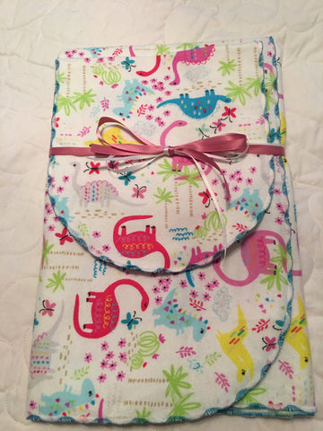 Dinosaur Burp Cloth and Blanket Set
