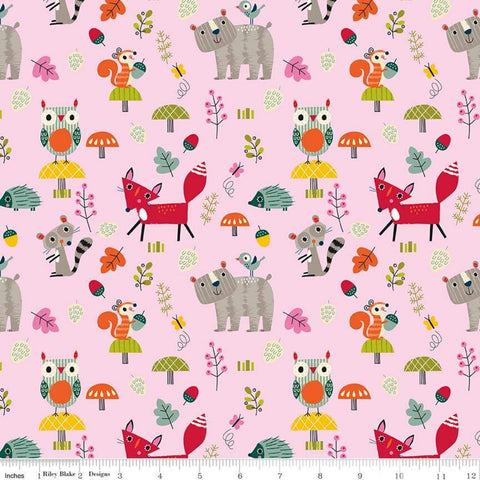 Flannel Forest Animals Main Pink