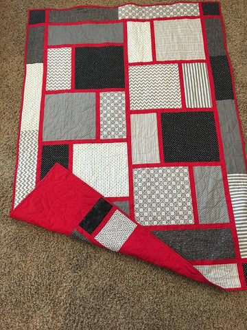 Beautiful Red, Black, and Grey Lap Quilt