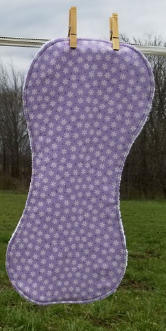 Light Purple Floral Flannel and Terry Cloth Burp Cloth