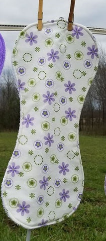 White and Purple Floral Flannel and Terry Cloth Burp Cloth