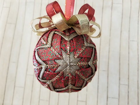 Red and Gold Sparkle Christmas Ornament