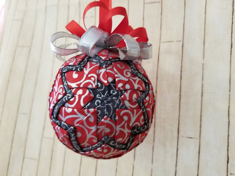 Red with Silver Swirls Christmas Ornament