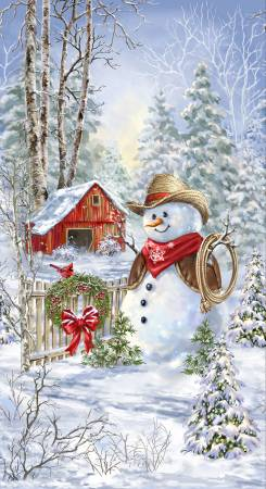 Saddle Up Snowman Panel from Timeless Treasures