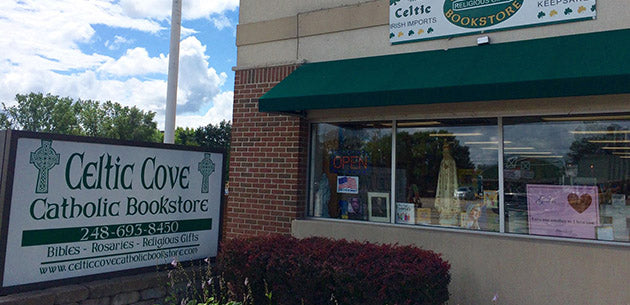 Celtic Cove Catholic Bookstore storefront in Oxford, Michigan