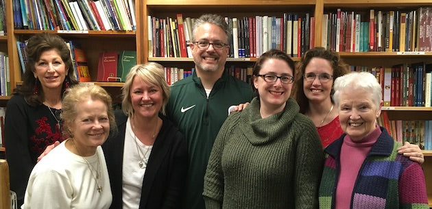 Volunteers at Celtic Cove Catholic Bookstore in Oxford, Michigan