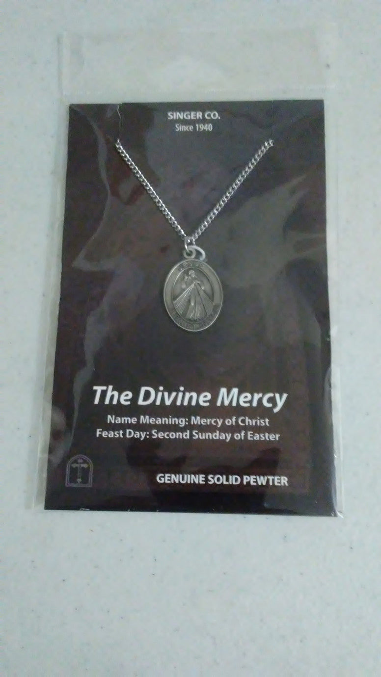 "The Divine Mercy Pewter Medal, 24"" Chain"