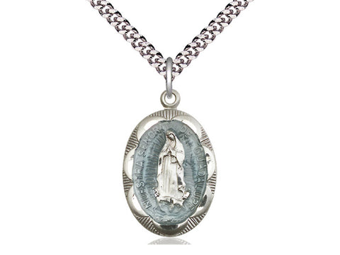 "Sterling Silver Our Lady of Guadalupe Medal, 24"" Chain"