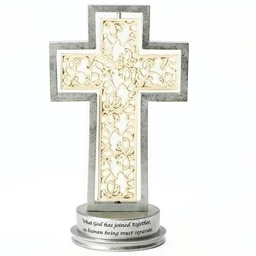 Ivory & Silver Wedding Cross 12.25""