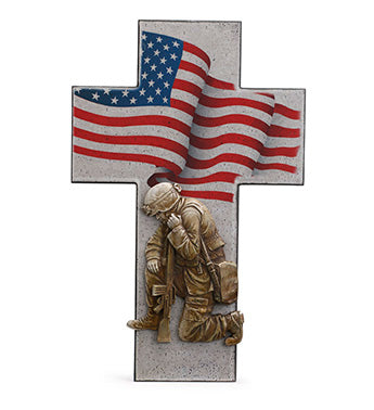 Soldier and Flag Cross
