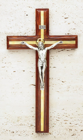 "12"" Walnut Crucifix with Brass Inlay"