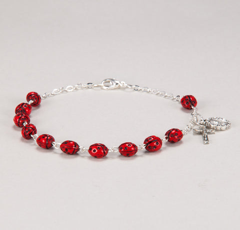 7MM LADY BUG BEAD ROSARY BRACELET WITH SILVER OXIDIZED MIRACULOUS MEDAL AND CRUCIFIX