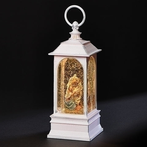 "9"" LED SWIRL HOLY FAMILY WHITE LANTERN"