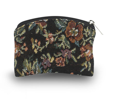 "BLACK FLORAL BROCADE 3"" X 4"" ROSARY POUCH"