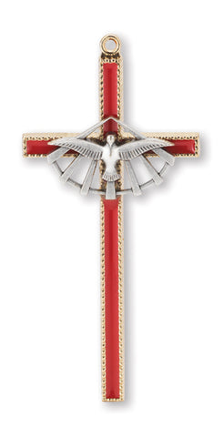 "3-1/4"" Red and Gold Enameled Confirmation Cross with Pewter Dove"