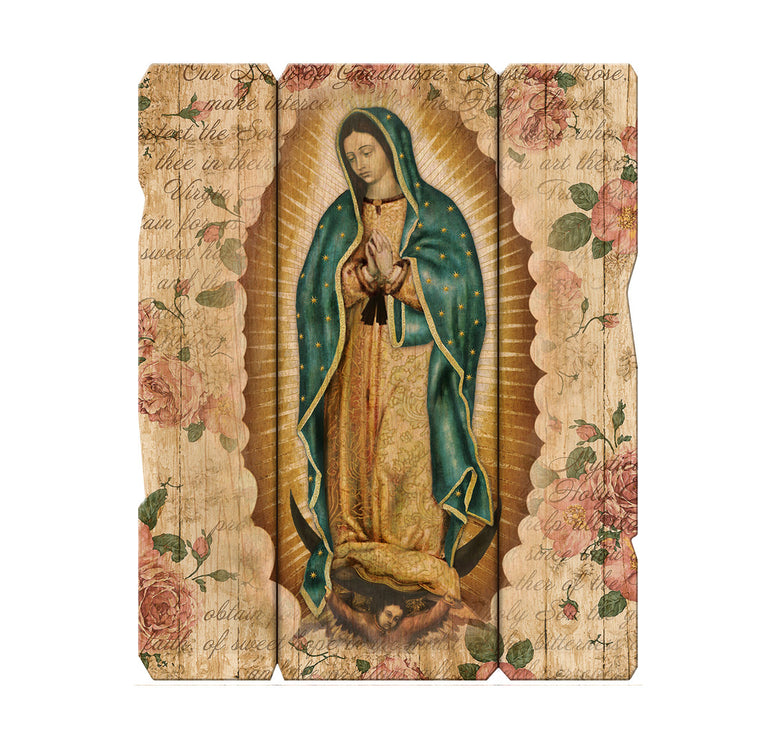 "Our Lady of Guadalupe 7 1/2 x 9"" Vintage Plaque with Hanger"