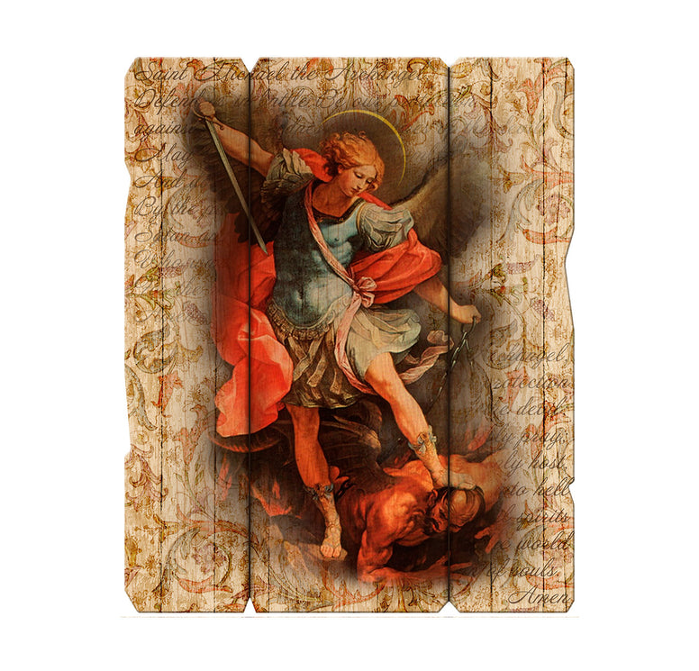 "St. Michael the Archangel 11 1/4"" x 14"" Vintage Plaque with Hanger"