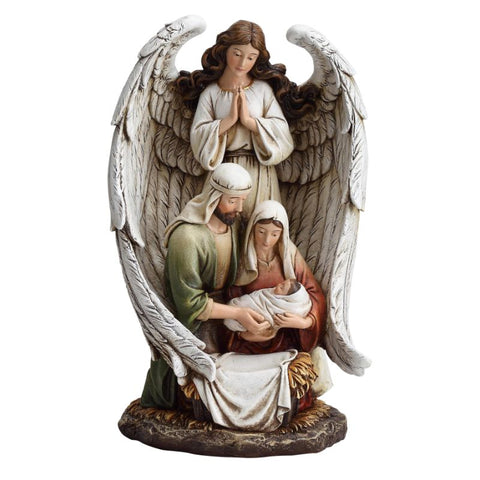 "10"" Guardian Angel with Holy Family Figurine Statue"