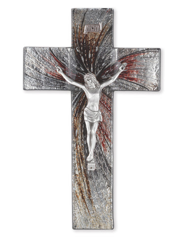 "10"" Shimmering Silver Glass Crucifix with Pewter Corpus"