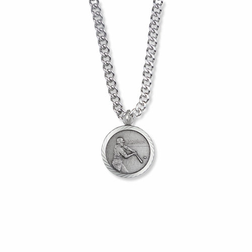 "Sterling Silver Male Baseball Sports Medal with Cross on Back, 20"" Chain"