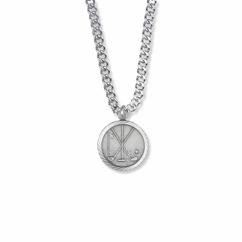 "Sterling Silver Golf Sports Medal, St. Christopher on Back, 20"" Chain"