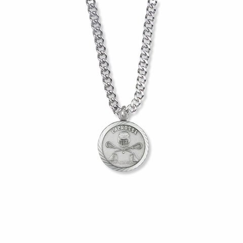 "Sterling Silver Lacrosse Sports Medal with Cross on Back, 20"" Chain"