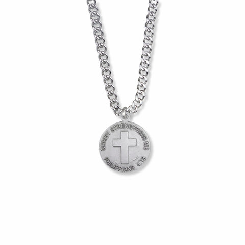 "Sterling Silver Off Road Biker Sports Medal with Cross on Back, 20"" Chain"