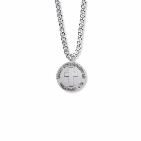 "Sterling Silver Male Ice Hockey Player Sports Medal with Cross on Back, 20"" Chain"