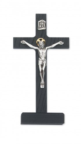 "8"" Black Wood Standing Crucifix with Silver Corpus"