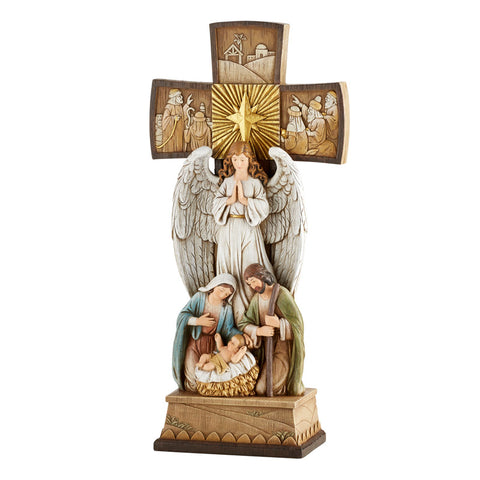 "14"" Cross Nativity Christmas Statue"
