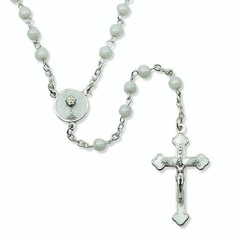 WHITE GLASS BEAD FIRST COMMUNION ROSARY