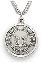Military Women's Sterling Silver Navy Medal, St. Michael on Back
