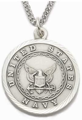 Military Men's Sterling Silver Navy Medal, St. Michael on Back
