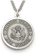 Men's Sterling Silver Air Force Medal, St. Michael on Back