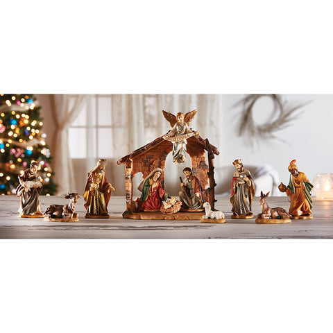 Twelve-Piece Nativity Set with Creche