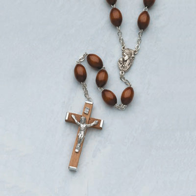 Large Brown Wood Rosary