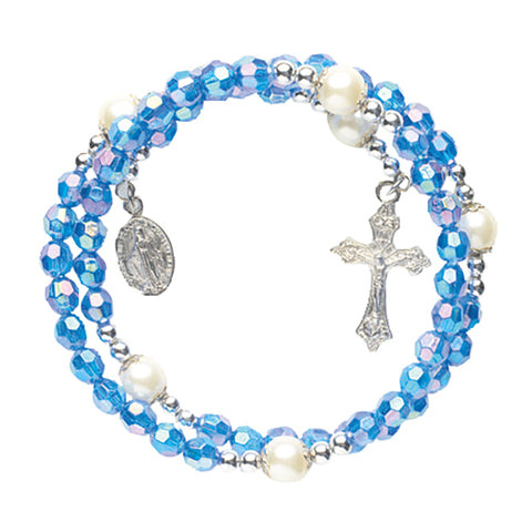 6mm Blue wrap Rosary Bracelet