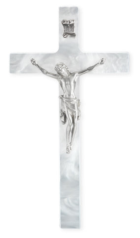 "7"" Pearlized White Cross With Pewter Corpus"