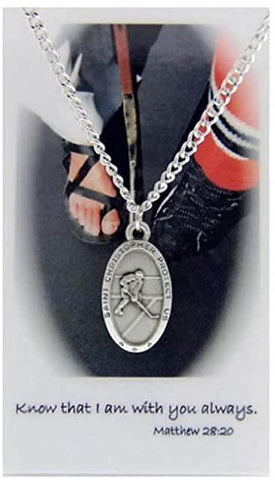 Hockey Prayer Card with St. Christopher Medal Necklace