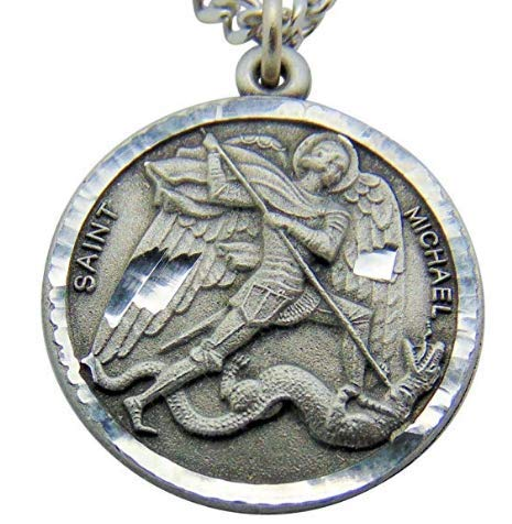 Singer St Michael medal Sterling Silver with Stainless Steel Chain