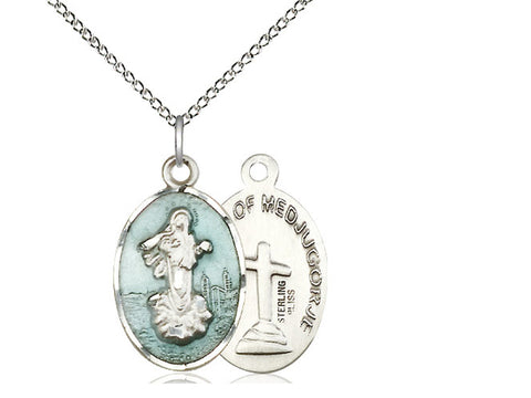 "Sterling Silver Blue Our Lady of Medugorje Medal, 18"" Chain"