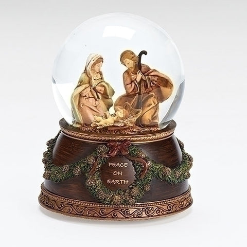 MUSICAL HOLY FAMILY DOME 100MM; BASE W/VERSE; WIND UP