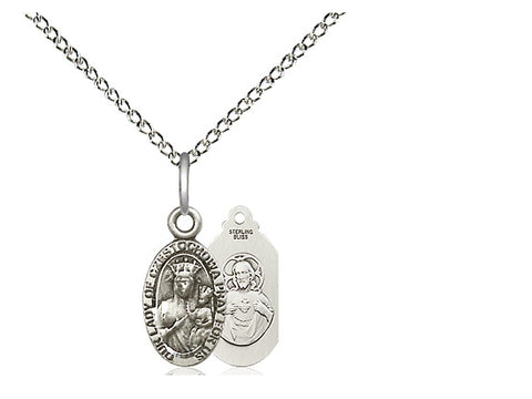"Sterling Silver Our Lady of Czestochowa Medal, 18"" Chain"