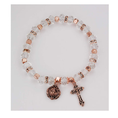 Copper Crystal Rosary Bracelet