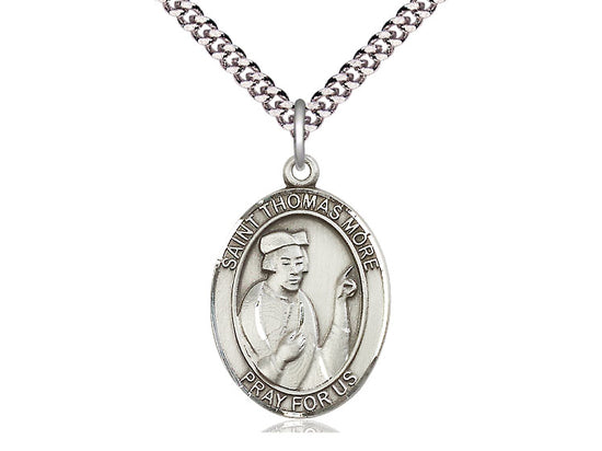 "Sterling Silver Saint Thomas More Medal, 18"" Chain"