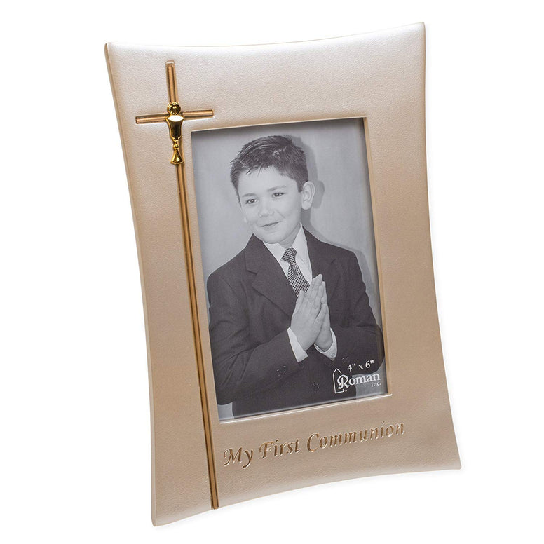 My First Communion Goldtone 6.5 x 9 Inch Resin Stone Easelback Picture Frame