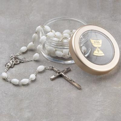 Crystal Clear Round Rosary Box - Wht