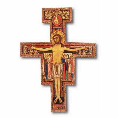 "8 1/4"" San Damiano Cross On Wood"