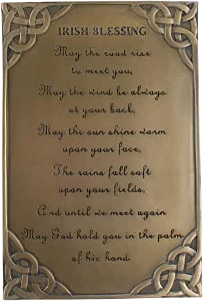 Antique Bronze Celtic Plaque with Irish Blessing Table Top Decoration