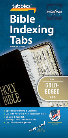 Tabbies Gold-Edged Bible Indexing Tabs, Old & New Testament, 80 Tabs Including 64 Books & 16 Reference Tabs